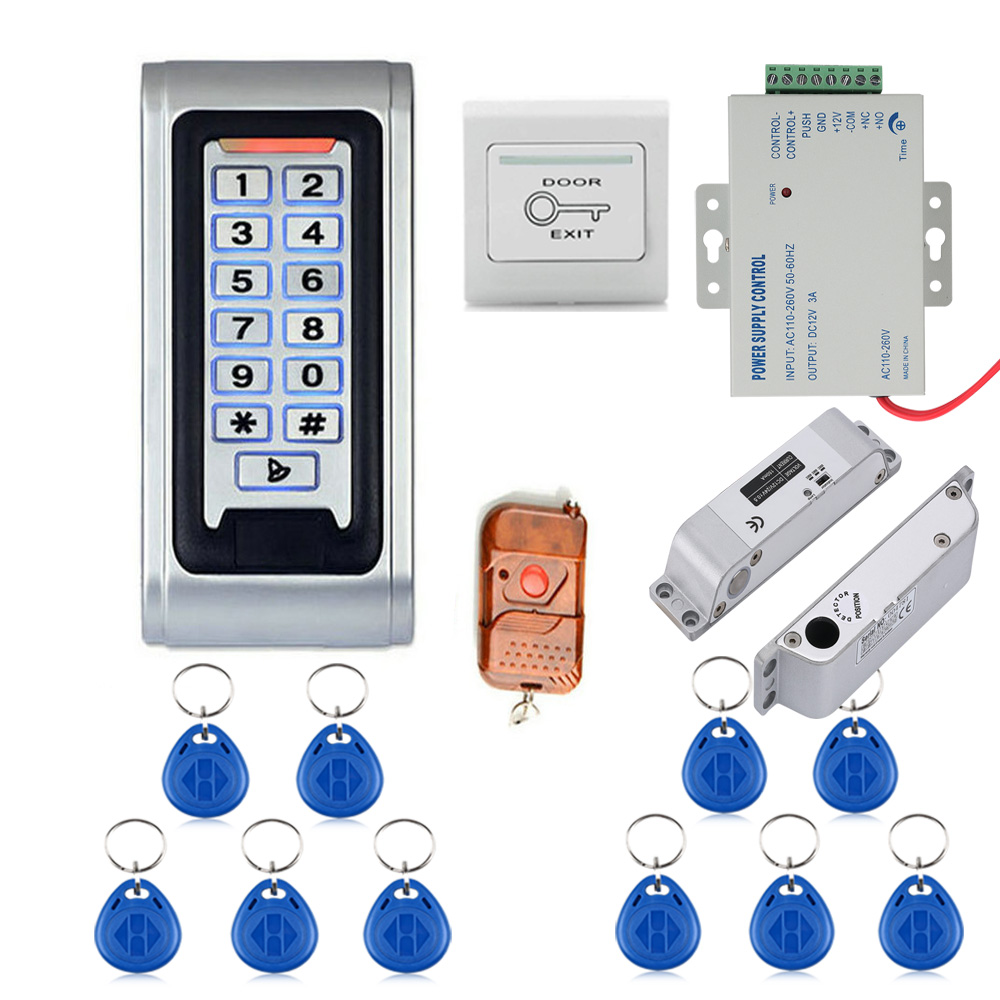 Door Access Control System Controller Waterproof Metal Case RFID Reader Keypad Remote Control Electric Drop Bolt Lock raykube glass door access control kit electric bolt lock touch metal rfid reader access control keypad frameless glass door