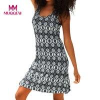 Mujeres Halter cuello Boho estampado sin mangas Casual Mini playa verano vestido vestidos de verano Camisetas mujer vestidos