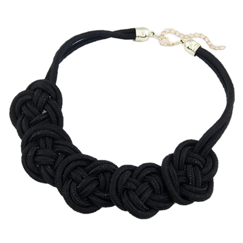 Bright Neon Knot Fabric Statement Collar Necklace Black