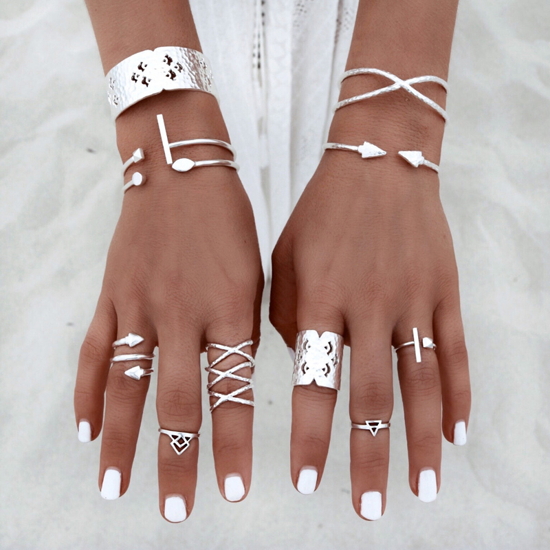 8pc Ethnic Tribal Silver Geometric Ring Set For Women Vintage Hippie Cross Knuckle Ring