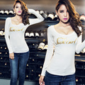 Printing Letters Fashion Women Winter Warm Sexy T Shirt Velvet White Black Cotton Slim T-Shirt Autumn Bottom Tops Cheap Clothing