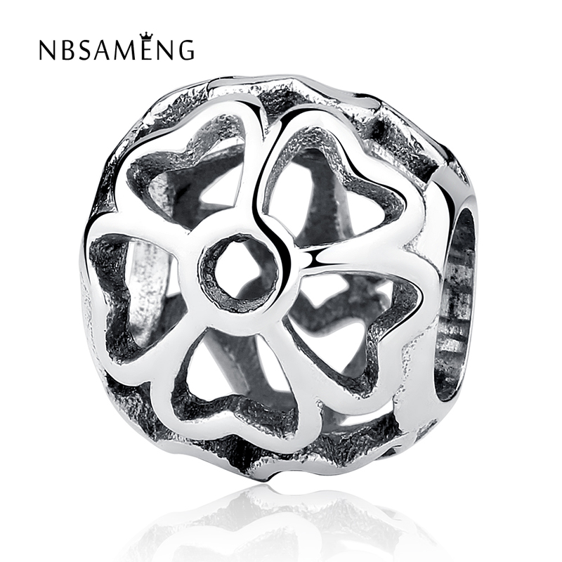 NBSAMENG Authentic 100% 925 Sterling Sliver Bead Hollow Out Daisy Charm Beads Fit Pandora Bracelets & Bangles Necklace