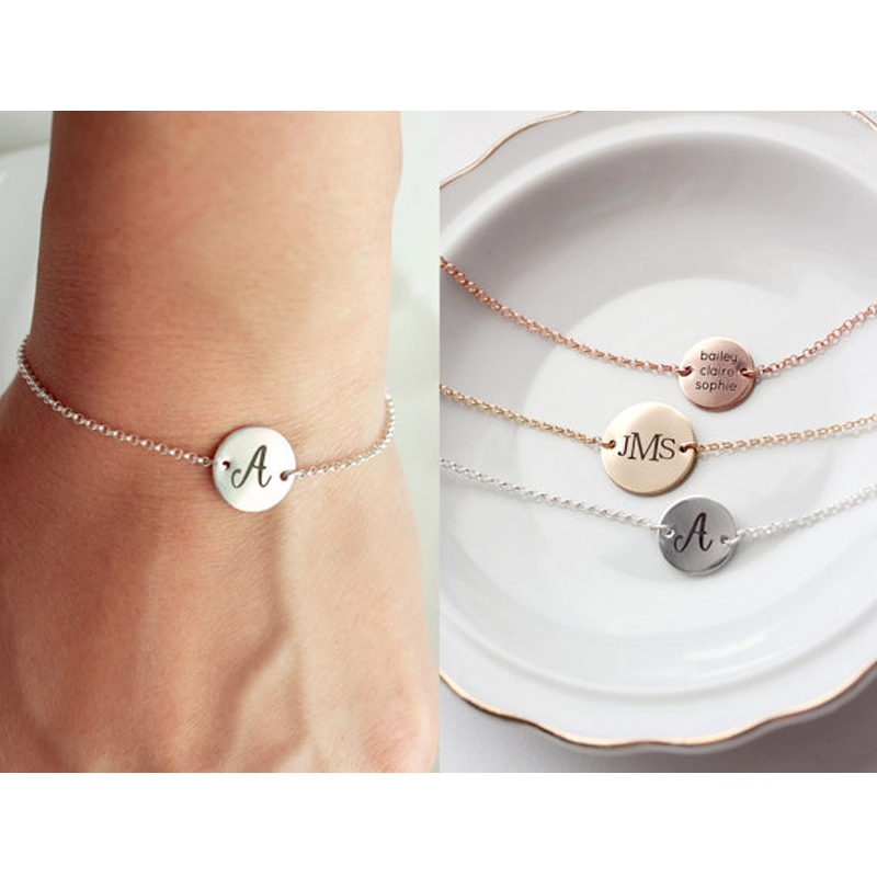 Round Plate Letters Engraved Customized Name Bracelet Make the Words You Want to Say and Keep it Along with You Best Gift to You