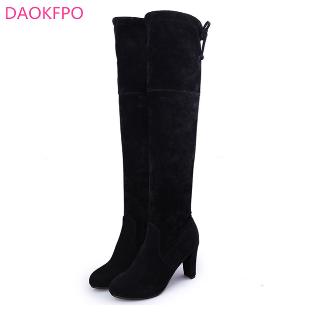 ALL YIXIE 2019 Fashion Winter Woman Boots High Heels Slim Sexy Over The Knee High Suede Women Snow Boots Thigh High Boots Shoes