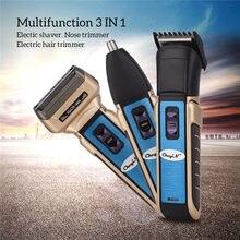 3 en 1 MODA Afeitadora de barba bigotes patillas de cabello eléctrico recortadora de pelo facial recargable inalámbrica kit de herramentas de afeitadora portátil para hombres uso en viajes