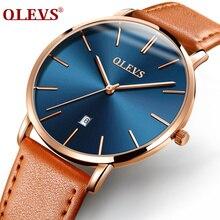 Men Watches Luxury Brand OLEVS Quartz Genuine Leather Strap