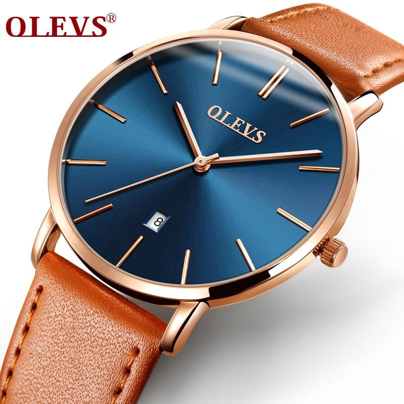 Men Watches Luxury Brand OLEVS Quartz Genuine Leather Strap Minimalist Ultrathin Wrist Watches Waterproof High Quality Relogio