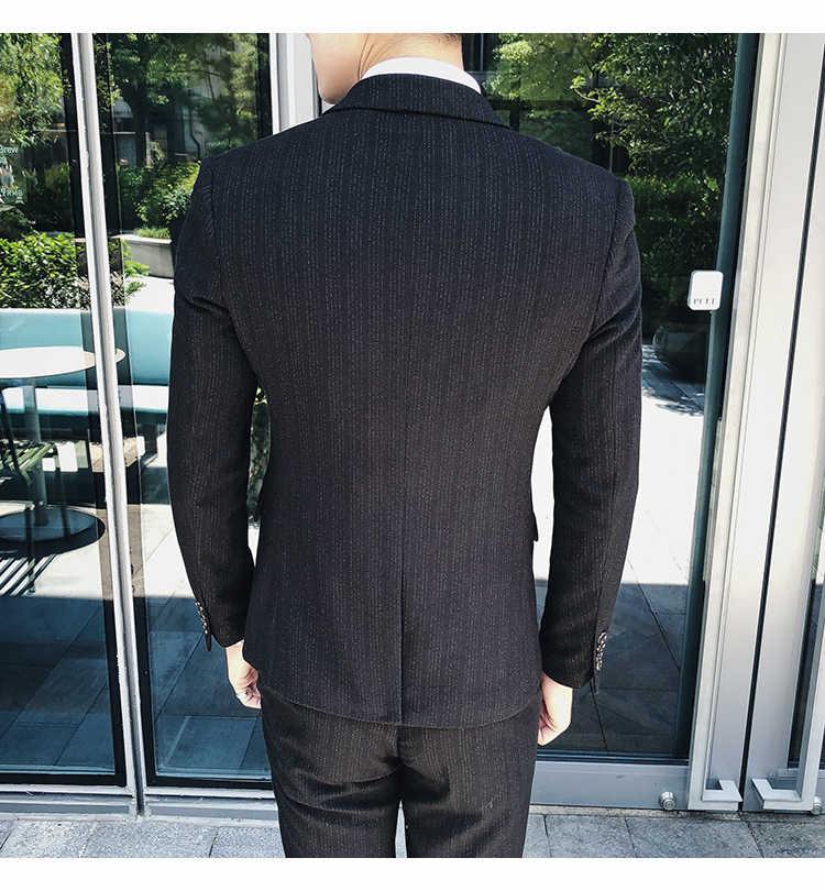 紳士英国スタイルスリム男性のストライプスーツセット結婚式新郎プラスサイズ 4XL 3 個 (ジャケット + ベスト + パンツ) カジュアルタキシードスーツ