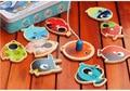 14 Juguetes De madera Magnética Peces Peces + 2 Cañas de Pescar Pesca Juego de Pesca Juego De Estaño Caja de Juguetes educativos para Niños, niña, Niño