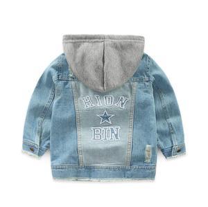 Image 3 - בני מעיל הילדים דנים ילדי הלבשה עליונה ילדה בגדי אביב סתיו ילד ברדס ג ינס בגדי שבור חור עבור 2  7 T