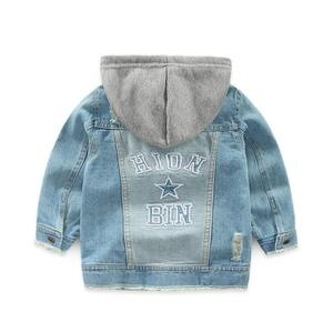 Image 3 - Boys Jacket kids Denim coat Children Outerwear girl clothing Spring Autumn boy hooded Jeans Clothes broken hole For 2 7T