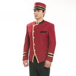 Rode hotel uniform voor mannen hotel receptie uniform voor mannen hotel receptioniste hotel ober kleren