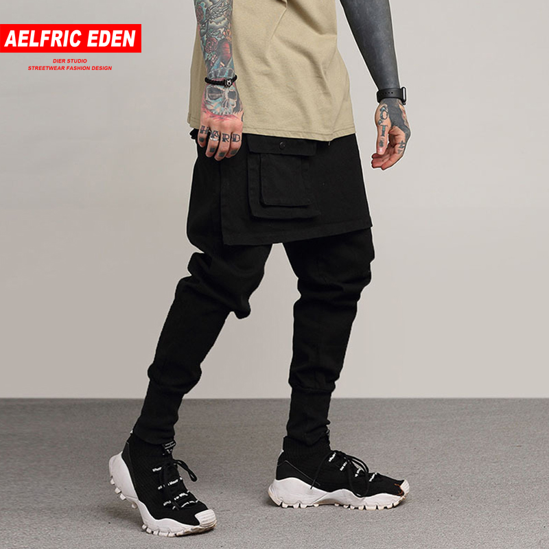 Aelfric Eden Skinny Black Casual Track Pants Men Fake Two Pieces Trousers Male Punk Joggers Kanye Hip Hop Harem Sweatpants Pa234 Easy To Lubricate