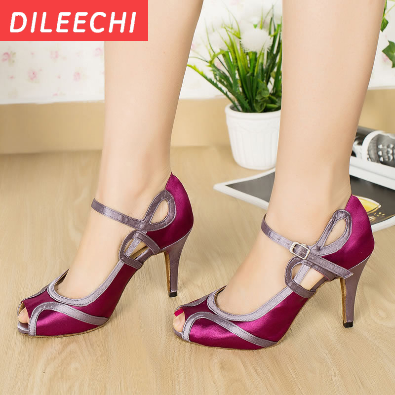 DILEECHI Purple Satin Latin dance shoes Wedding Salsa Party Ballroom dance  shoes High heels 10cm white PU-in Dance shoes from Sports   Entertainment on  ... 53121a5b8e2f