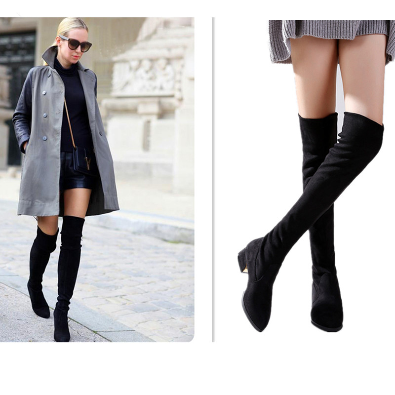 Autumn Winter Suede Female Boot 2017 Fashion Pointed Toe Square Heels Elastic Over Knee High Women's Boots Long Lady Shoes Black double barrel toddler boys s andy cowboy boot square toe