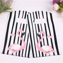 2019 yeni stil siyah ve beyaz çizgili torbalar toptan 50 adet/grup 9*15cm yüksek kalite lüks küçük hediye ambalaj Flamingo