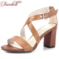 FACNDINLL Hot Fashion Cow Leather Summer Shoes 2018 New Black Woman Gladiator Sandals Super High Heels