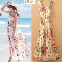 RuiYiGe 43 Floral Dress 2017 Summer Sleeveless Floral Chiffon Beach Long Dress Large Size Women Dress