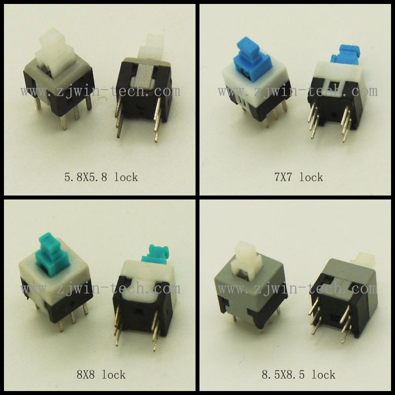 40 шт./лот 4 модели самоблокирующийся кнопочный выключатель с 6-контактным размером 5,8x5,8/7x 7/8x8/8,5x8,5 мм