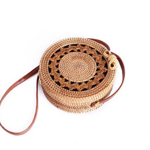 Circle Rattan bag shoulder Beach Bag Round natural Woven Straw Women Boho knitting Bali messenger Summer 2019 new