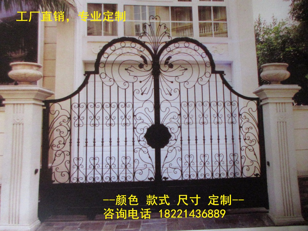 Custom Made Wrought Iron Gates Designs Whole Sale Wrought Iron Gates Metal Gates Steel Gates Hc-g55