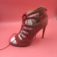 Brick Red Faux Suede Pump Women Shoes Open Toe Hollow Out Lace-up Sapato De Salto Feminino Luxury Shoes Women Women Pumps 2016