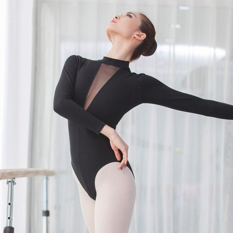 gymnastics leotard high neck dance leotard deep V long sleeve leotard mesh ballet leotards for women in Ballet from Novelty Special Use