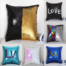 New DIY Mermaid Sequin Cushion Cover Magical Throw Pillowcase 40X40cm Color Changing Reversible Pillow Case For Home Decor