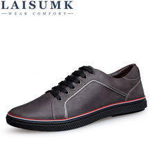 LAISUMK Handmade 100% Genuine Leather Men Casual Shoes Big Size Leisure Flat Shoes Luxury Brand Mens Shoes Black Brown Drop Ship