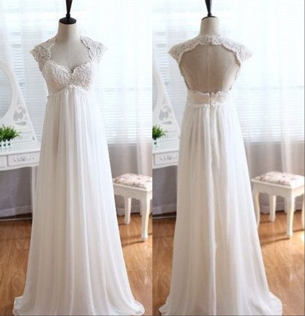 2017 Elegant Simple Wedding Dresses Pregnant Cap Sleeve Beach Chiffon  Weddingdress