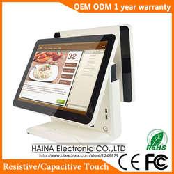 Хайна Touch 15 дюймов Сенсорный экран АЗС POS Системы двойной Экран POS машина