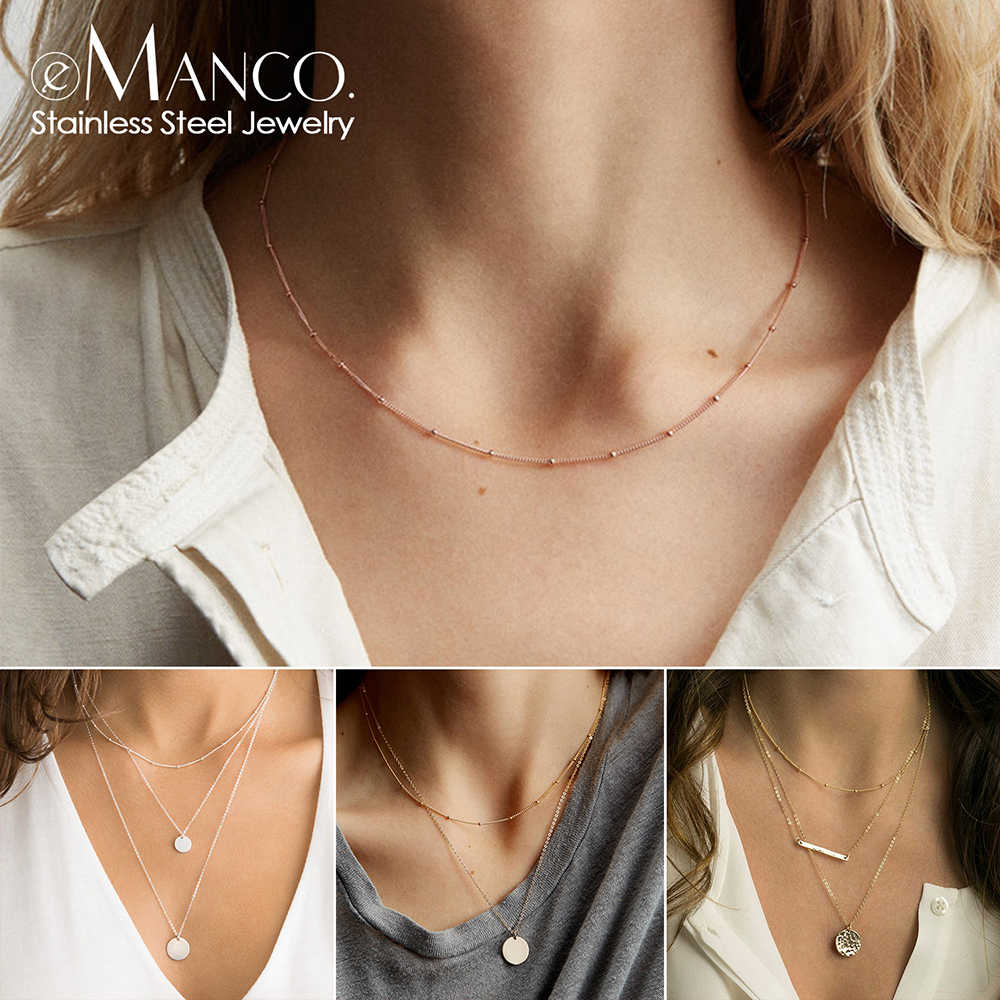 e-Manco korean style Stainless Steel Necklace Women Pendants Layered Necklace best friend dainty choker necklace