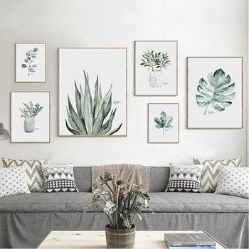 Dekoracja salonu minimalistyczny wazon akwarela zielona sztuka z motywem roślinnym plakat na ścianę drukowany obraz obraz na płótnie dla nowoczesnego domu tanie i dobre opinie Nannapat Wydruki na płótnie Pojedyncze PŁÓTNO Wodoodporny tusz Flower bez ramki Y0070 Malowanie natryskowe Pionowy prostokąt