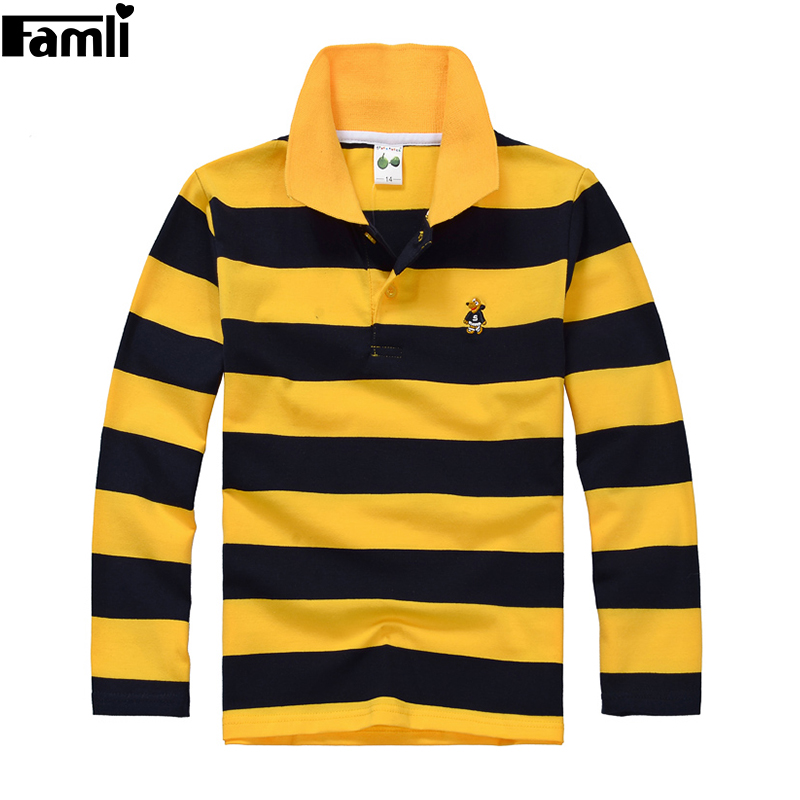 5Y-16Y Teenage Boys Polo Shirt Children Spring Autumn Fashion Striped Turn-down Cotton Long Sleeve T-shirt Tops 6 8 10 12 14 16 pockets turn down collar long sleeve men s shirt