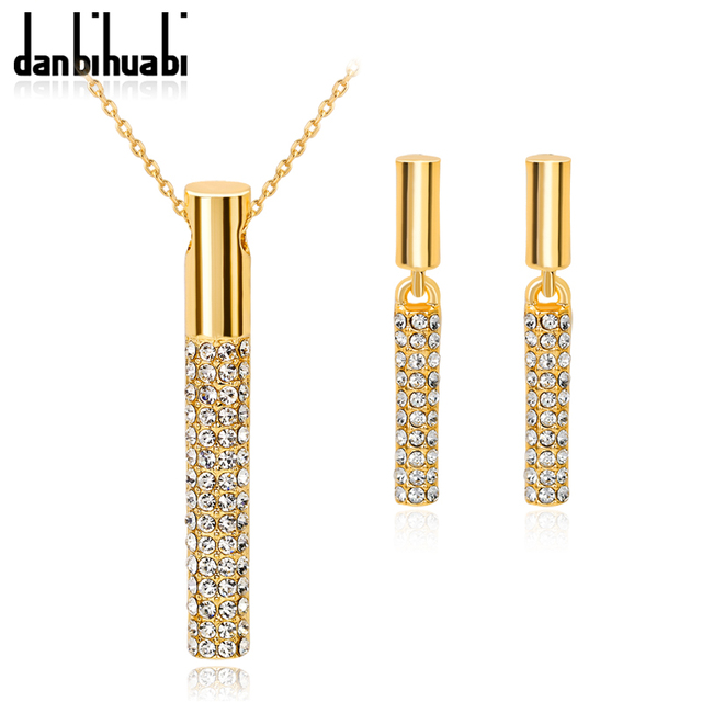 Gold Color Clear Austria Crystals Drop Necklace Earrings Costume