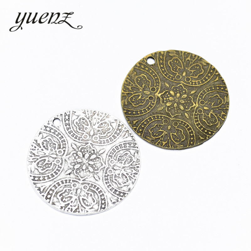 Flower Charms Handmade Pendant Jewerly-Making Metal Round Silver-Color Antique DIY Yuenz
