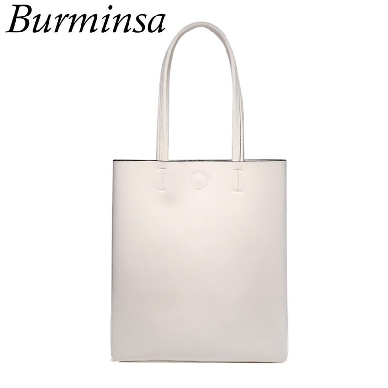 Burminsa Korean Style Genuine Leather Handbags Women Foldable Shopping Tote Bags Famous Brand Ladies Shoulder Bags Dollar Price