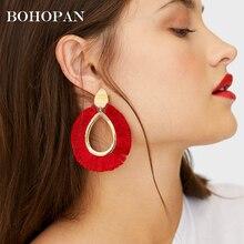 Metal Tassel Earrings For Women Water Drop Big Fringe Cotton Tassel Dangle Earring Female Charm Jewelry Accessory Party Brincos charm fringe design drop earrings