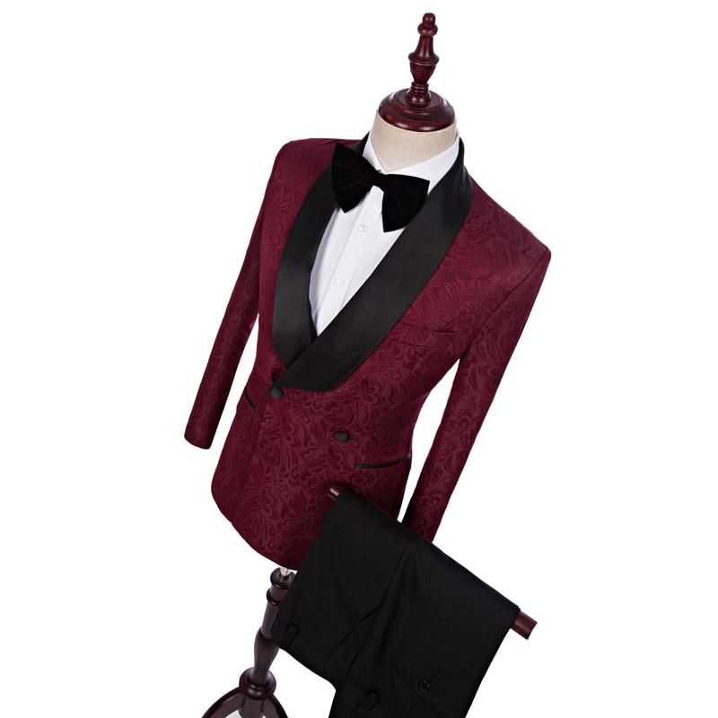 New Style Burgundy Jacquard Black Pants  Groom Tuxedos Shawl Lapel Men Suits Wedding Best Man Blazer (Jacket+Pants+Tie C689