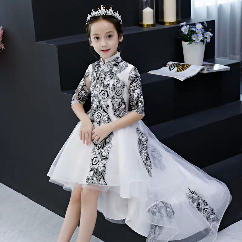 2019Children Girls Spring New Chinese Traditional Embroidery Lace Flowers Birthday Wedding Party Dress Teens Kids Piano Dress2019Children Girls Spring New Chinese Traditional Embroidery Lace Flowers Birthday Wedding Party Dress Teens Kids Piano Dress