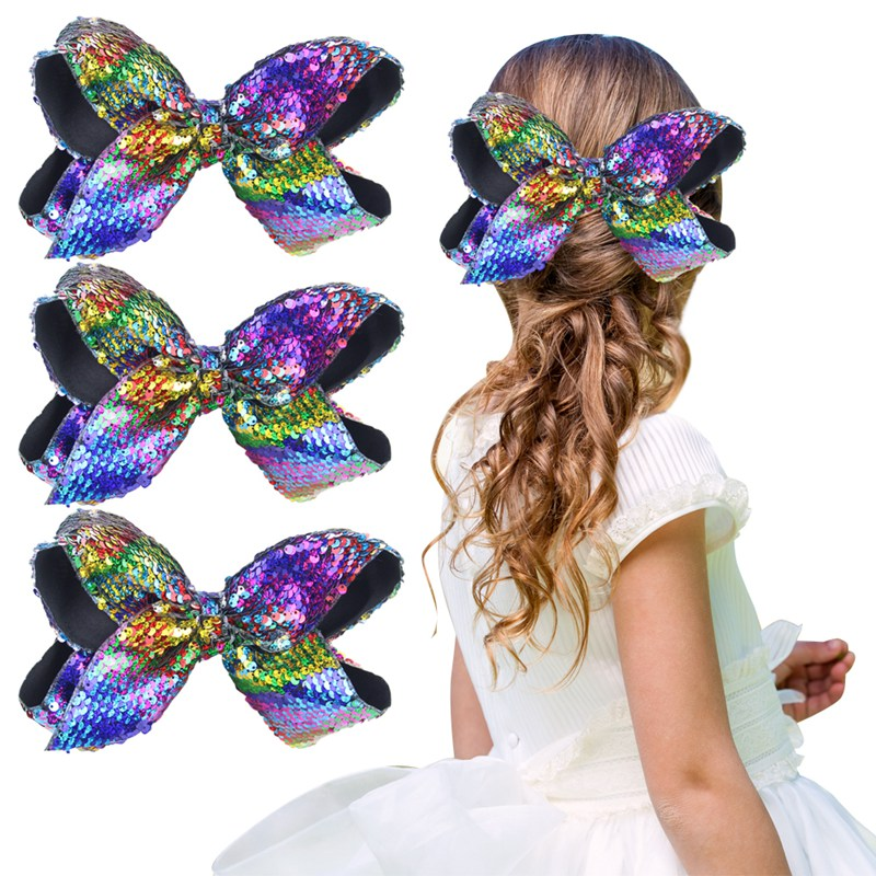 3Pcs 8 Sequins Hair Bow Clips Rainbow Color Headwear Hairbands for Women Girls Hair Accessories Clips Drop Shipping