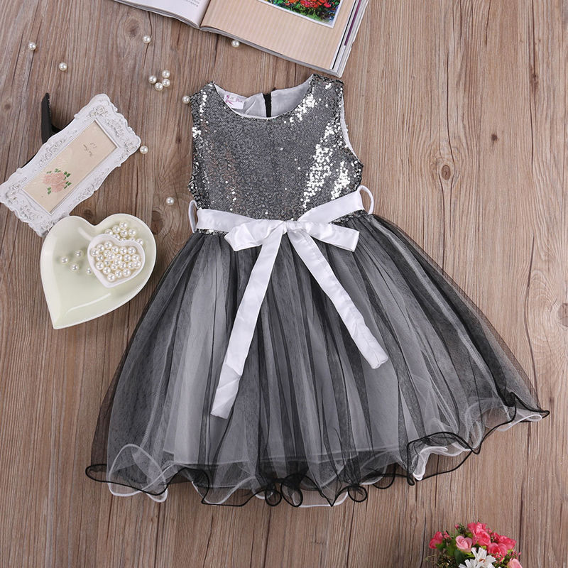 Infant Toddler Kids Princess Baby Girls Dress Sequins Party Pageant Wedding Sleeveless Dresses baby girls infant wedding party bowknot sleeveless ruffled vest dress sundress