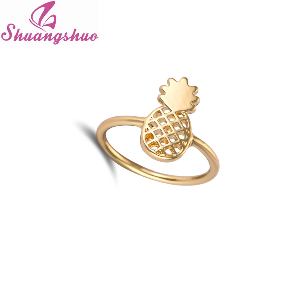 2016 New Fashion Pineapple Rings Jewelry Simple Funny Outline Fruit Rings  Lovely Ananas Rings For Women Party Gift