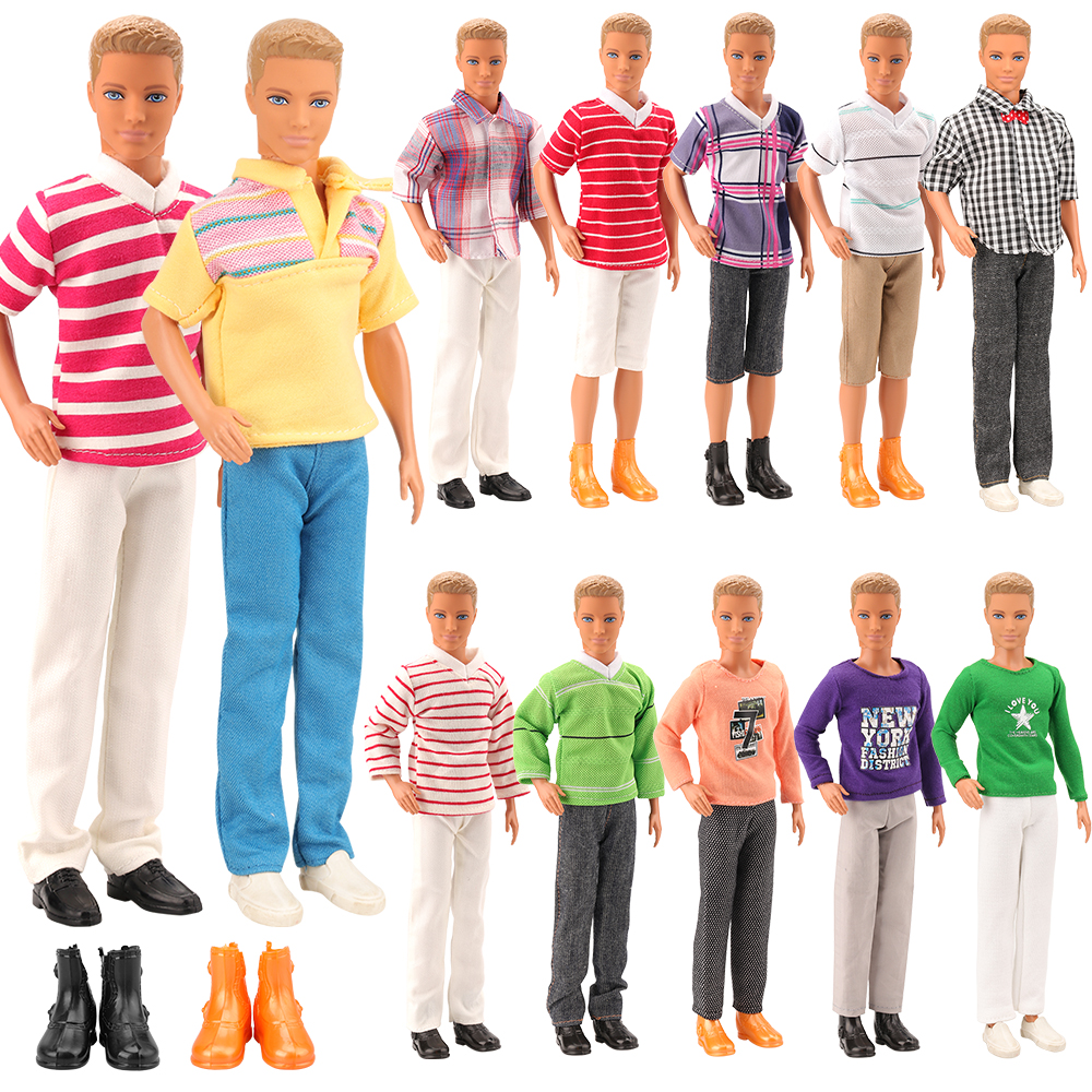 2019 Newest 5 Items /lot= 3 Ken Doll Clothes +2 Dolls Shoes Set Random Outfit Accessories For Barbie Ken Best Christmas Present