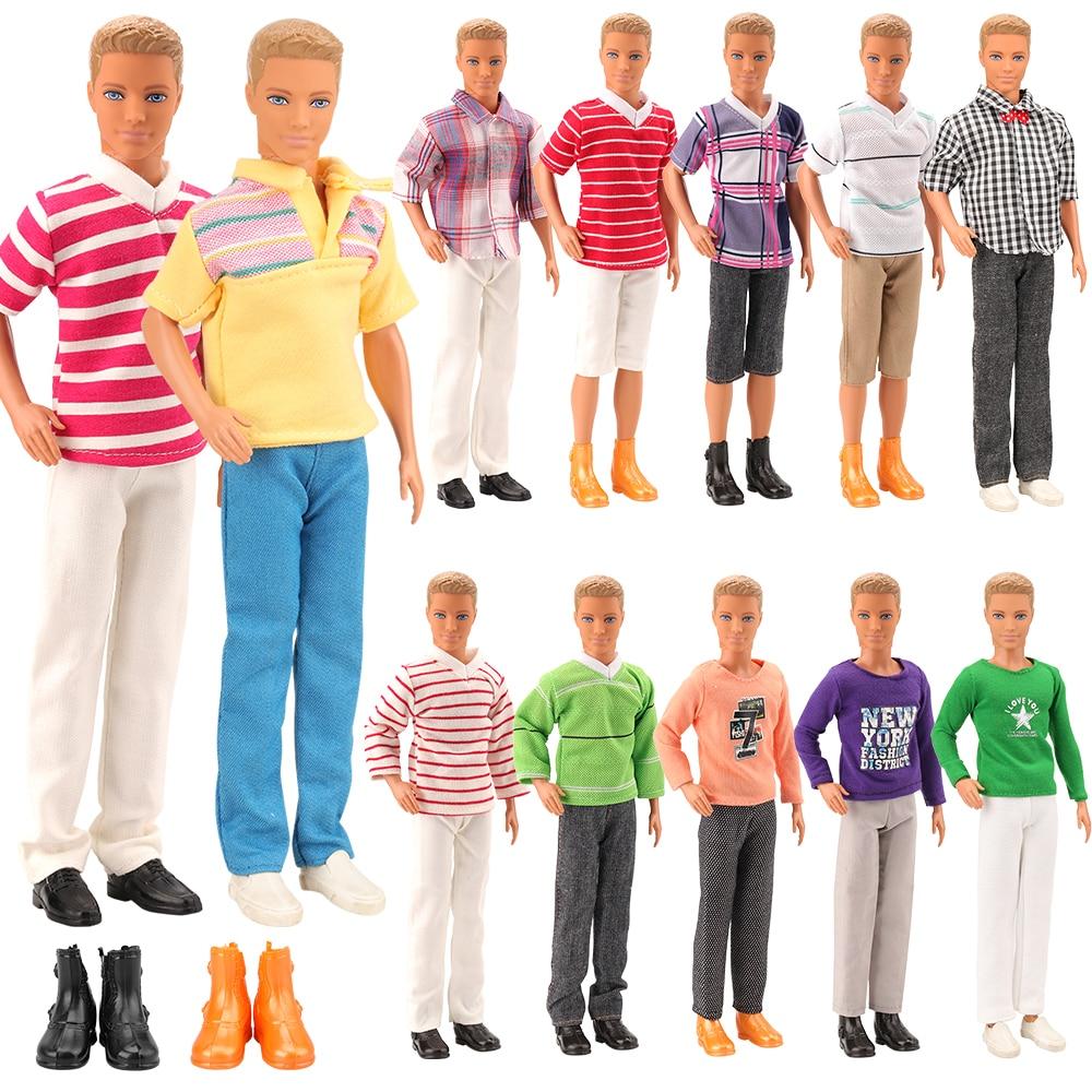 2019 Newest Dolls Clothes MIX 3PCS Costumes +2PCS Shoes Set Random Send Cool Outfit For Barbie Ken Doll Accessories DIY Gift