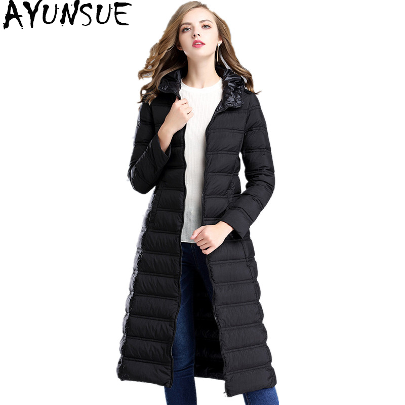 AYUNSUE 2018 New Winter   Down     Coat   Women 90% White Duck   Down   Jacket Hooded Thin Outerwear Long   Down   Parkas Warm   Coats   WYQ894