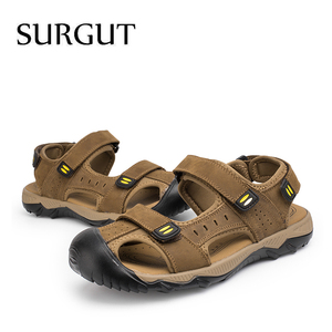 Image 5 - SURGUT New 2021 Hot Fashion Summer Casual Solid Men Sandals Breathable High Quality Genuine Leather Beach Shoes Big Size 38~48