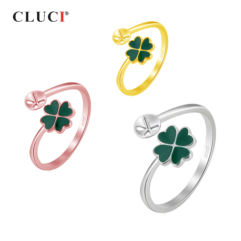 CLUCI 925 Sterling Silver Lucky Clover Rings Jewelry for Women Party Open Pearl Ring Mounting Silver 925 Clover Rings SR2159SB