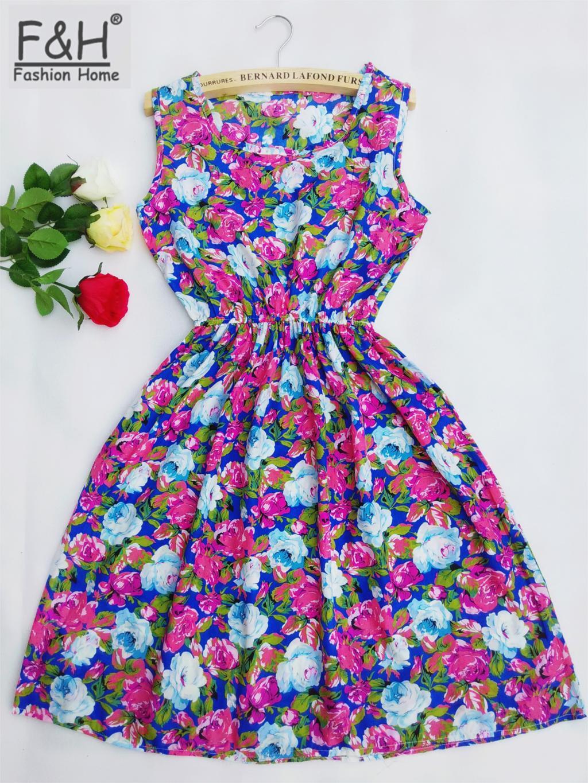 CDJLFH Brand 18 Color Fashion Women Round Neck Sleeveless Florals Leopard Print Summer Dress Saias Femininas NFS-NZ1807