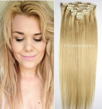 Remy Virgin Brazilian Clip In Extensions120G Clip In Brazilian Hair Extensions #22 Medium Blonde Clip In Human Hair Extensions